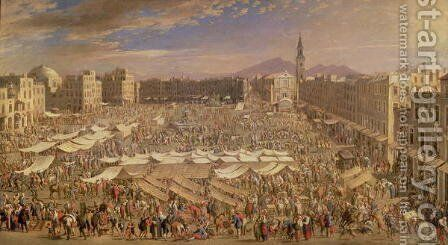 The Market at Naples by Angelo Maria Costa - Reproduction Oil Painting