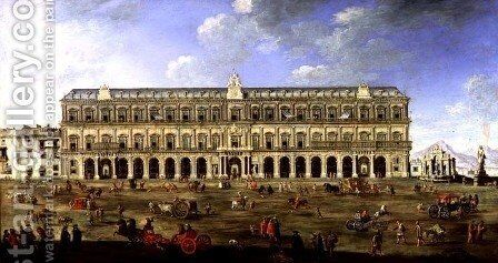 View of the Palace of Naples by Angelo Maria Costa - Reproduction Oil Painting