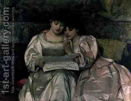 Two Girls Singing by Giovanni Costa - Reproduction Oil Painting