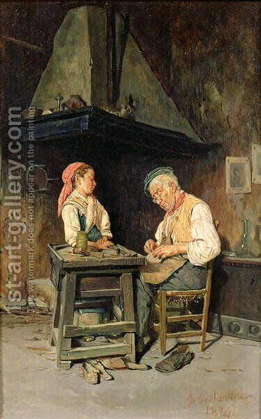 The Cobbler's Shop, 1874 by Giuseppe Costantini - Reproduction Oil Painting