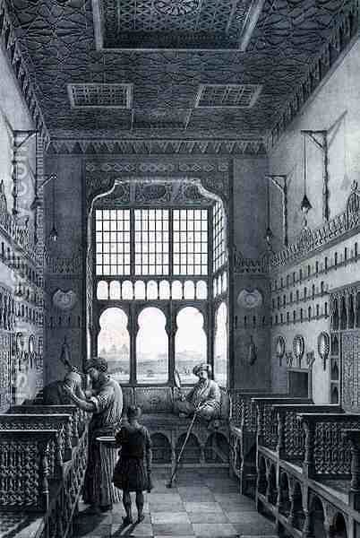 View Inside a Barber's Shop in the French Quarter Near Quantarat El Gedydeh, from  Voyage Pittoresque' in Persia by Pascal Xavier  (after) Coste - Reproduction Oil Painting