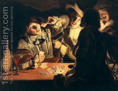 The Card Players c.1620s by Adam de Coster - Reproduction Oil Painting