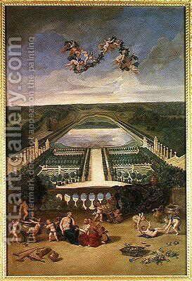 View of the Orangerie at Versailles, from the Piece d'Eau des Suisses and the King's Vegetable Garden with Vertumnus and Pomona, 1688 by Jean II Cotelle - Reproduction Oil Painting