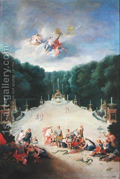 The Groves of Versailles. View of the Arc de Triomphe and France Triumphant with Nymphs Chaining Captives before Venus and Mars, 1688 by Jean II Cotelle - Reproduction Oil Painting