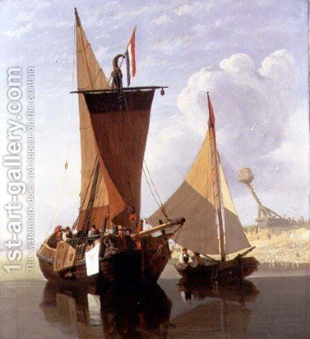 Boats on the Medway by Miles Edmund Cotman - Reproduction Oil Painting