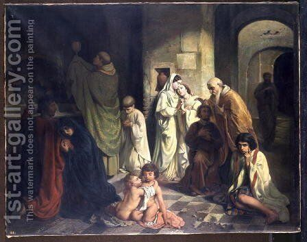 The Kiss of Peace in the Catacombs by Charles Louis Fredy de Coubertin - Reproduction Oil Painting