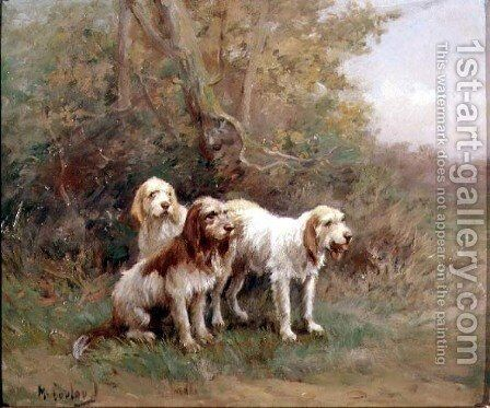 Otterhounds in a Landscape by Martin Coulaud - Reproduction Oil Painting