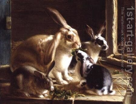 Long-eared rabbits in a cage, watched by a cat by Horatio Henry Couldery - Reproduction Oil Painting