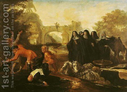 The Abbess of Etival Returning to Le Mans with Four Nuns, from Roman Comique' by Jean de Coulom - Reproduction Oil Painting