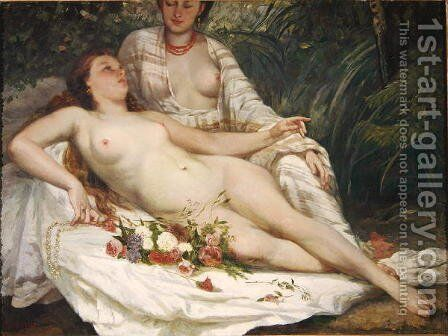 Bathers or Two Nude Women, c.1858 by Hanoteau, Hector (1823-1890) and Courbet, Gustave (1819-1877) - Reproduction Oil Painting