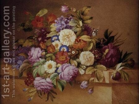 Roses, Convolvuli and other Flowers on a Ledge by Alexandre Couronne - Reproduction Oil Painting