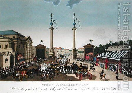 Presentation of the Keys of Paris to King Louis XVIII at the Barriere Saint-Denis on 3rd May 1814, c.1815-20 by Henri  (after) Courvoisier-Voisin - Reproduction Oil Painting