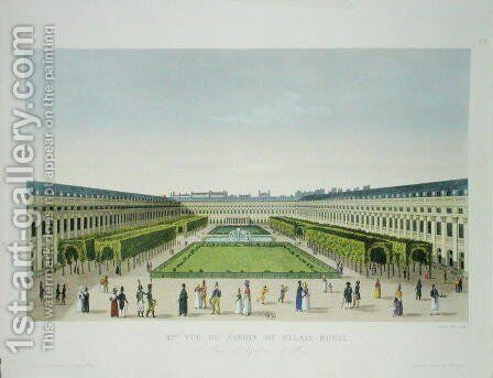 View of the Gardens of the Palais Royal, as seen from the Galeries de Bois by Henri  (after) Courvoisier-Voisin - Reproduction Oil Painting