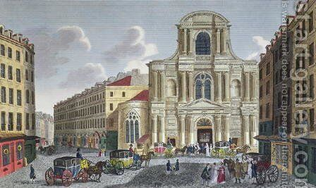 The Porch of Saint Gervais Church, c.1815-20 by Henri  (after) Courvoisier-Voisin - Reproduction Oil Painting