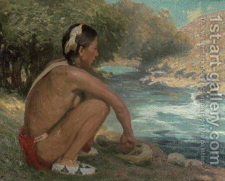 The Mountain Stream, c.1914 by Eanger Irving Couse - Reproduction Oil Painting