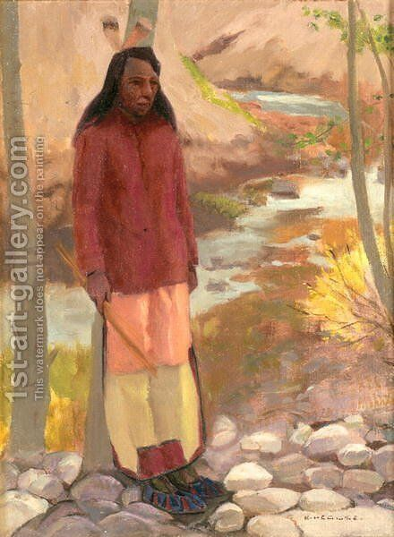 Study of Umatilla Indian, Columbia River, 1897 by Eanger Irving Couse - Reproduction Oil Painting