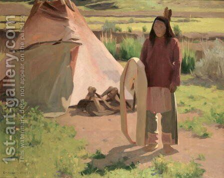Klikitat Warrior, c.1898 by Eanger Irving Couse - Reproduction Oil Painting