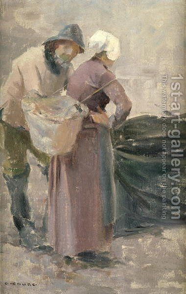 The Housewife Looking at the Fisherman's Catch, c.1900 by Eanger Irving Couse - Reproduction Oil Painting