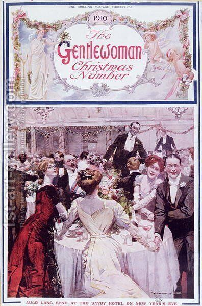 New Year's Eve at the Savoy Hotel, London, cover illustration for The Gentlewoman magazine, Christmas 1910 by Max Cowper - Reproduction Oil Painting