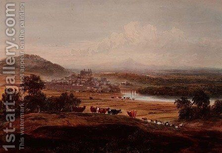 Hay-on-Wye, Herefordshire, c.1830-40 by David Cox - Reproduction Oil Painting