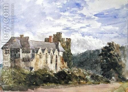 Stokesay Castle and Abbey by David Cox - Reproduction Oil Painting