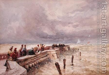 Calais Pier 2 by David Cox - Reproduction Oil Painting