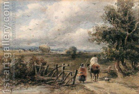 Figures Crossing a Bridge by David Cox - Reproduction Oil Painting