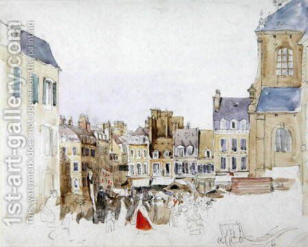 A French Market Place, c.1829 by David Cox - Reproduction Oil Painting