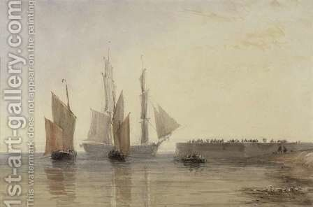 Entrance to Calais Harbour, 1829 by David Cox - Reproduction Oil Painting