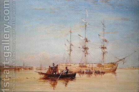 A Man-o'-War at Anchor in the Thames by David Cox - Reproduction Oil Painting