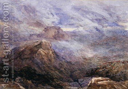 Welsh Sketch - Burning Bracken by David Cox - Reproduction Oil Painting