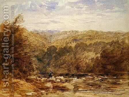 A Derbyshire River 1845 by David Cox - Reproduction Oil Painting