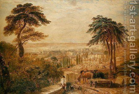 View Over a Town by David Cox - Reproduction Oil Painting