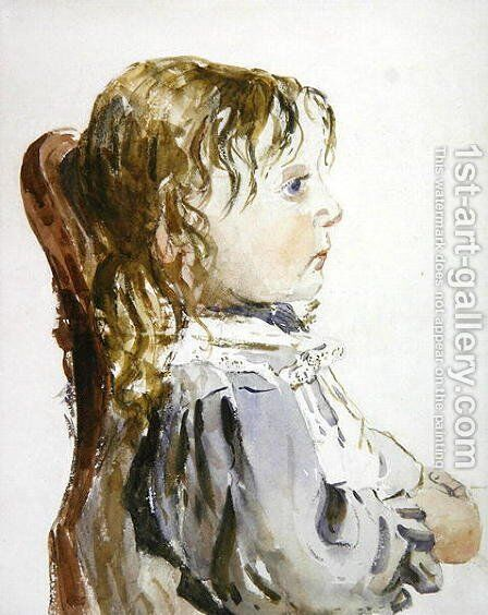 Study of a small girl in a pinafore, probably late 1840s by David Cox - Reproduction Oil Painting