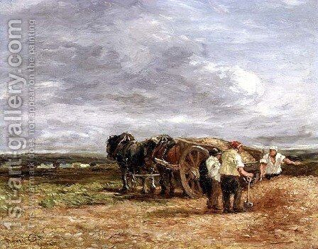 Carting Shingle by David Cox - Reproduction Oil Painting