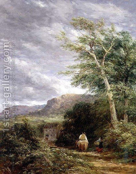 Welsh Landscape with a Watermill by David Cox - Reproduction Oil Painting