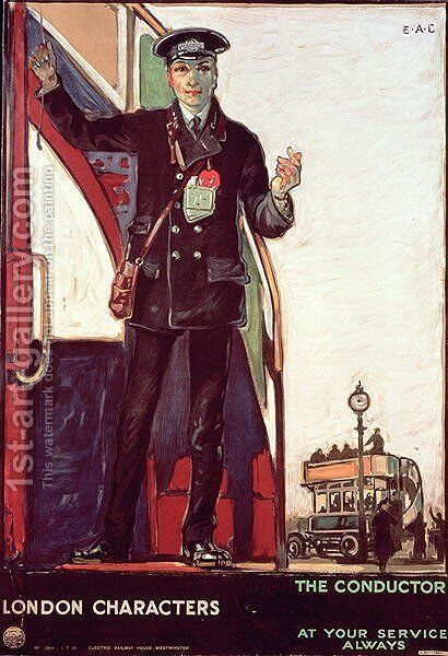 London Characters, The Conductor, Great Britain, 1919 by Edward Morant Cox - Reproduction Oil Painting
