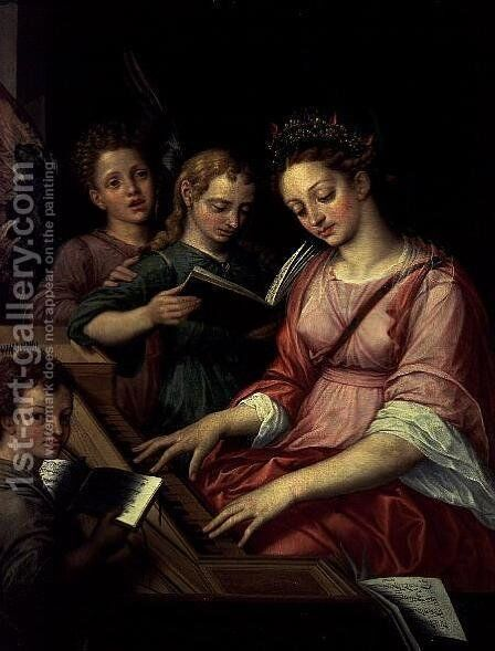 St. Cecilia Accompanied by Three Angels by Michiel van Coxie - Reproduction Oil Painting