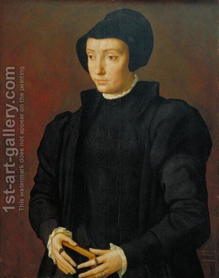 Portrait of Christina of Denmark, 1545 by Michiel van Coxie - Reproduction Oil Painting