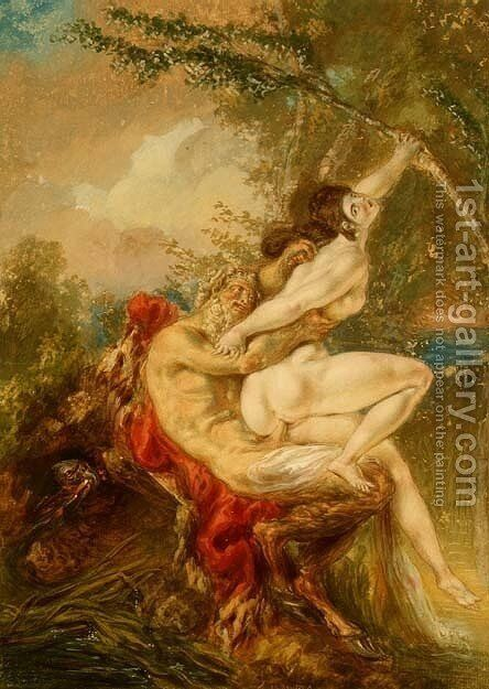 Jupiter and Antiope, from Histoire Universelle, 1740's by Charles-Antoine Coypel - Reproduction Oil Painting