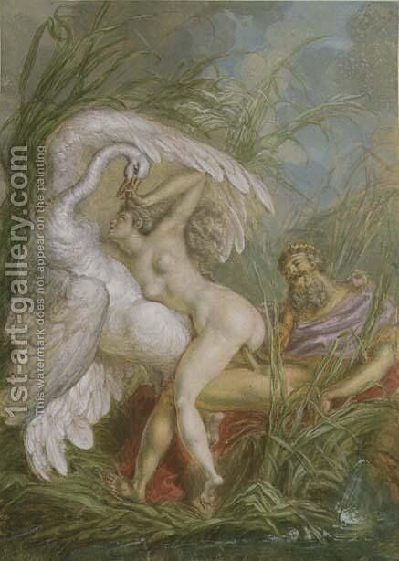 Leda and the Swan, from Histoire Universelle, 1740's by Charles-Antoine Coypel - Reproduction Oil Painting