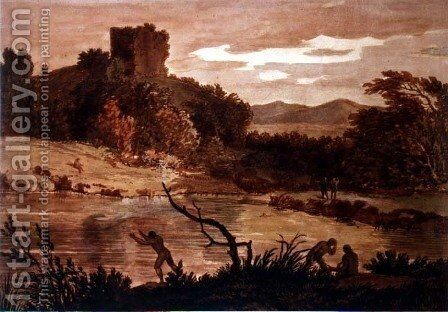 Landscape with men bathing by Alexander Cozens - Reproduction Oil Painting