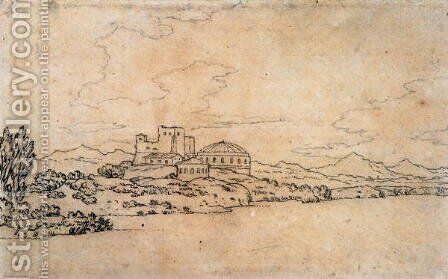 Italian Landscape with Domed Building 2 by Alexander Cozens - Reproduction Oil Painting