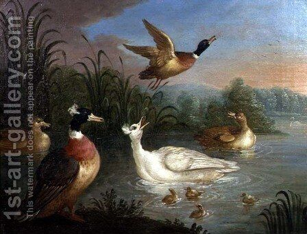Ducks on a River Landscape by Marmaduke Craddock - Reproduction Oil Painting