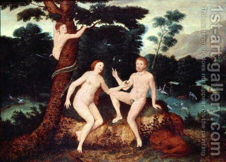 Adam and Eve in the Garden of Eden by Anonymous Artist - Reproduction Oil Painting