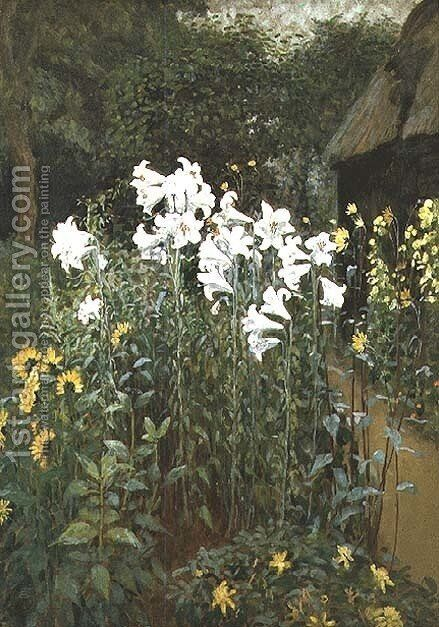 Madonna Lilies in a Garden by Walter Crane - Reproduction Oil Painting
