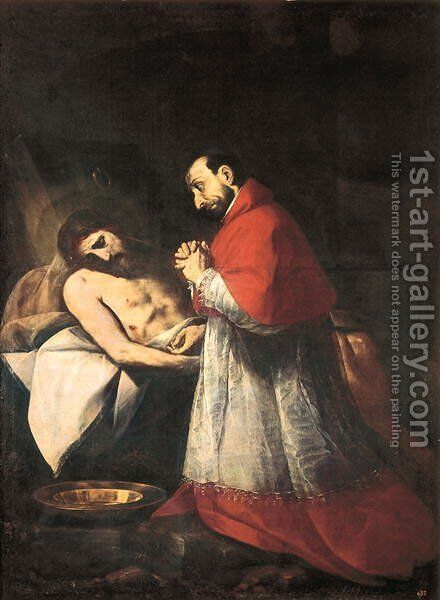 St. Charles Borromeo before the Dead Christ, 1610 by Giovanni Battista Crespi (Cerano II) - Reproduction Oil Painting
