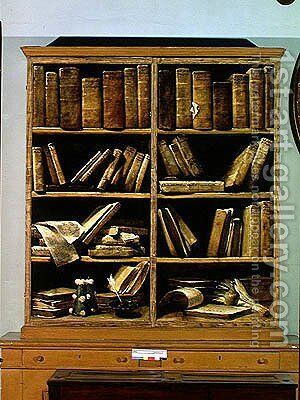 Trompe l'Oeil of a Bookcase, 1710-20 by Giuseppe Maria Crespi - Reproduction Oil Painting