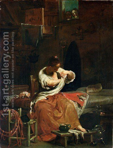 The Flea c.1715-20 by Giuseppe Maria Crespi - Reproduction Oil Painting