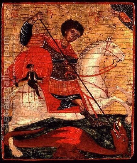 Icon of St. George and the Dragon by Anonymous Artist - Reproduction Oil Painting